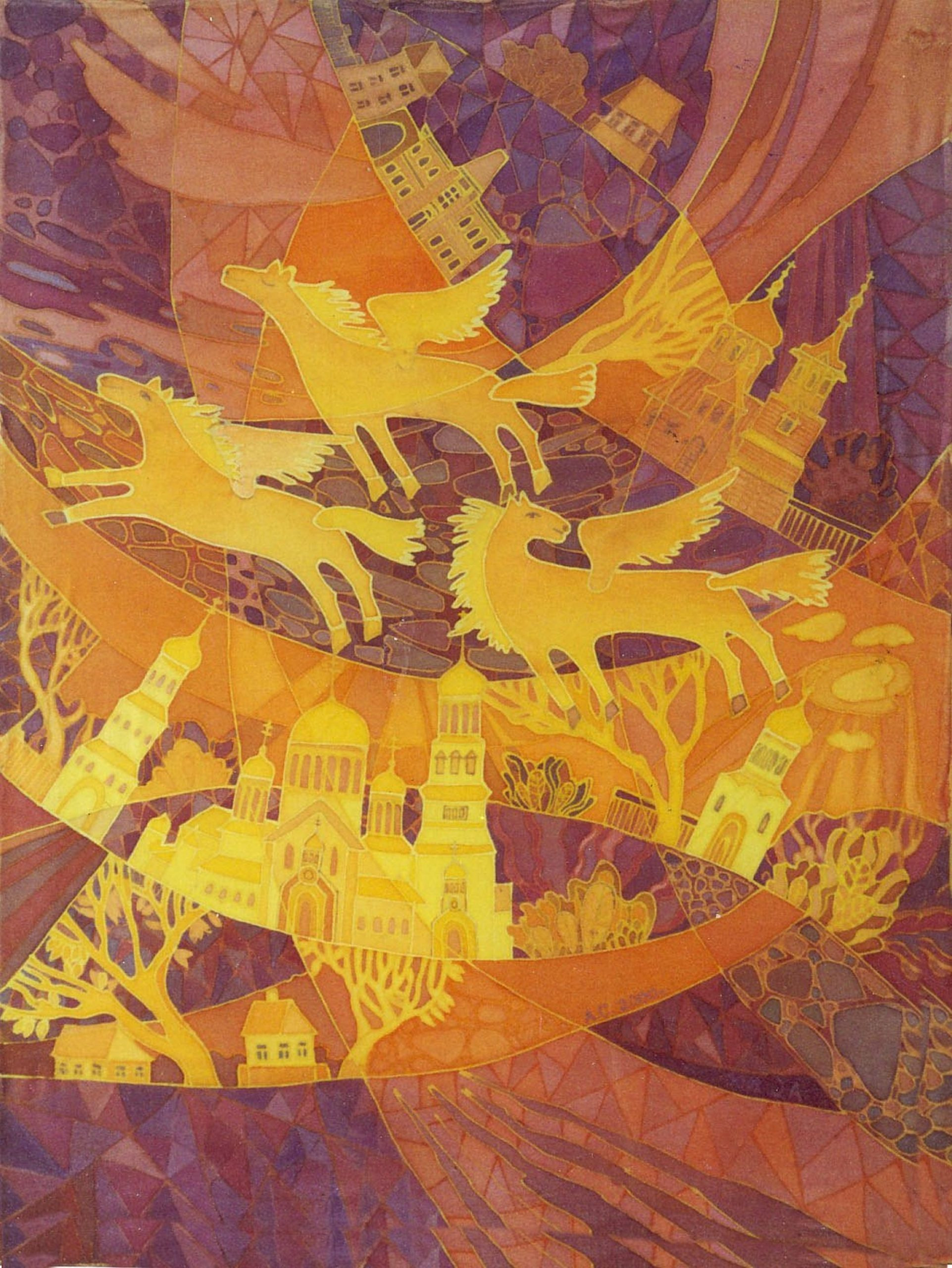 batik - Flying-Horses-over-my-city.-painting-on-silk.-60х80.-2000