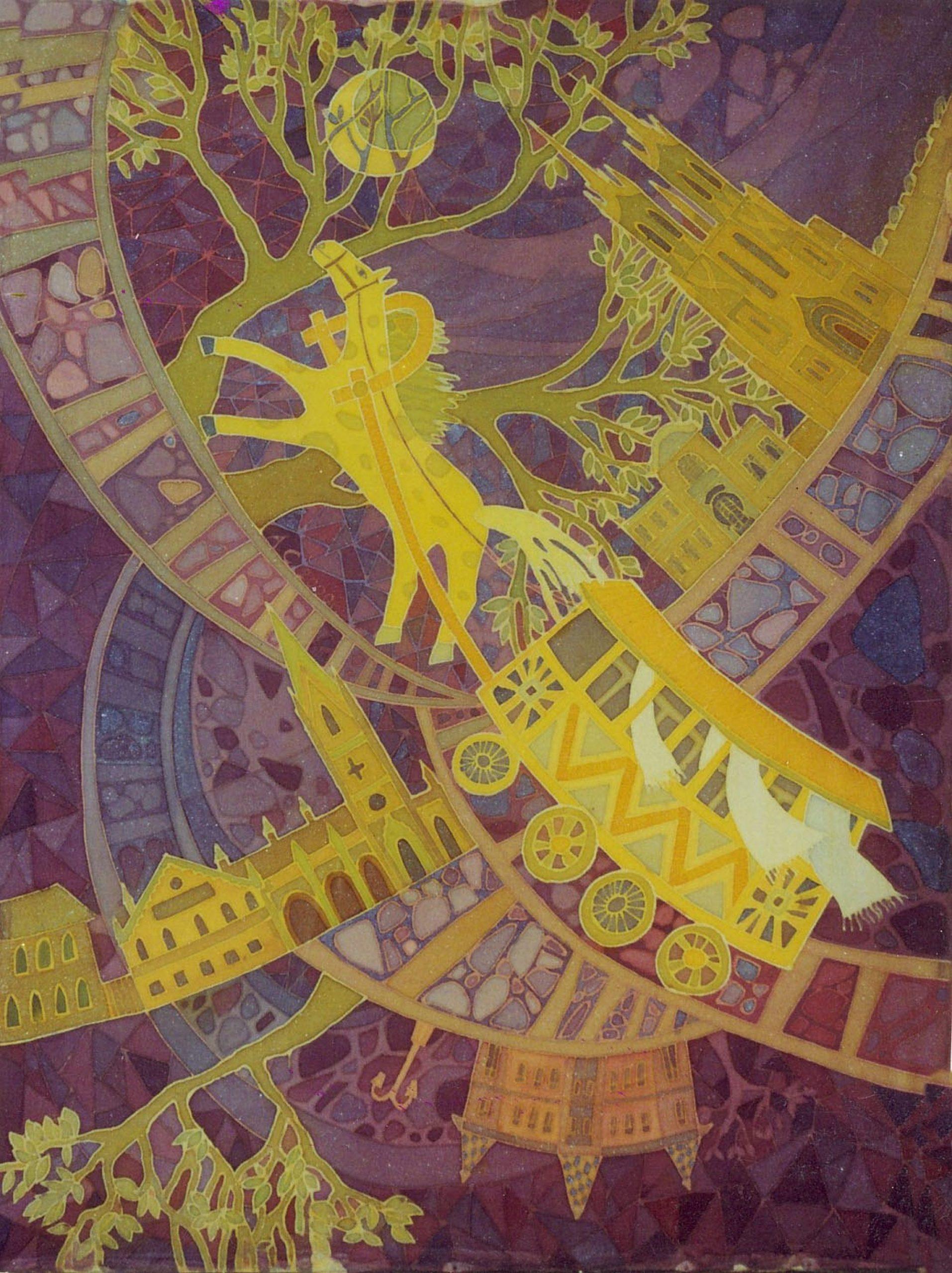 batik - Samara-trolley.-silk-painting.-60х80.-2000