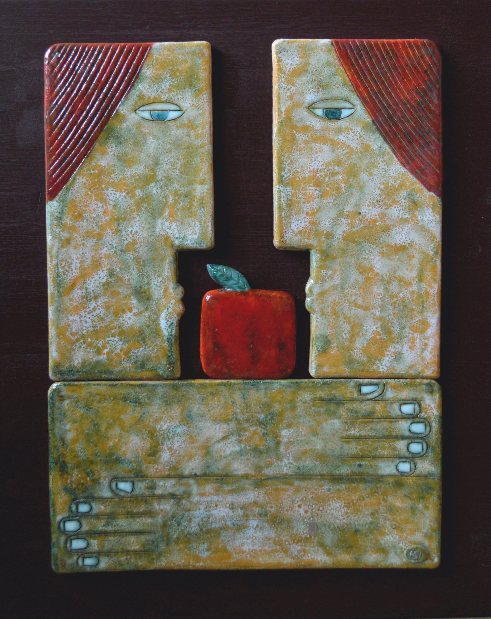 on-board - 1.Couple.chamotte-glazespanno-ceramic-decorated-on-the-wood-board.-60х50.2013