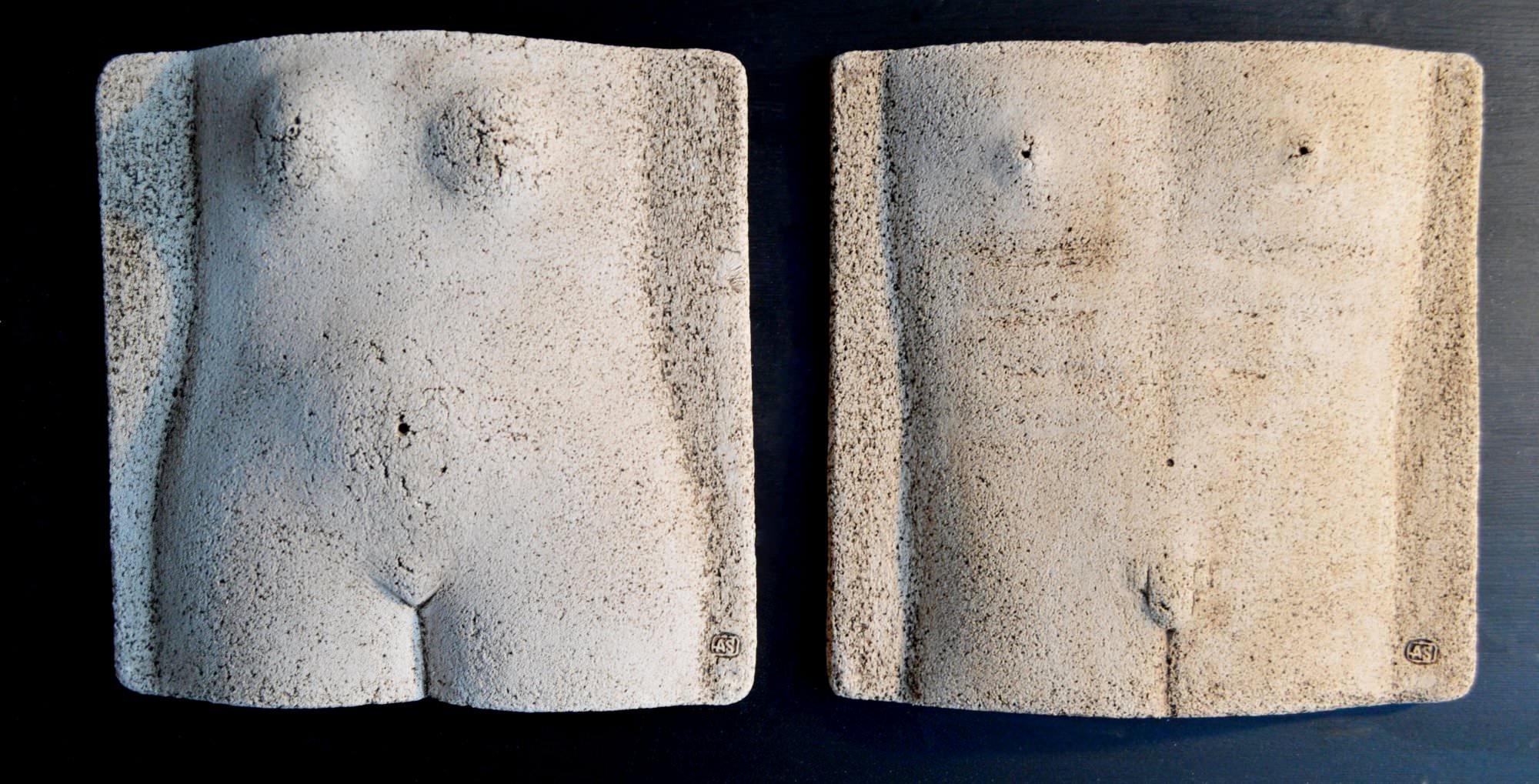 on-board - 13.-Man-and-womancouplediptych-chamottepanno-ceramic-decorated-on-the-wood-board.40x4040x40
