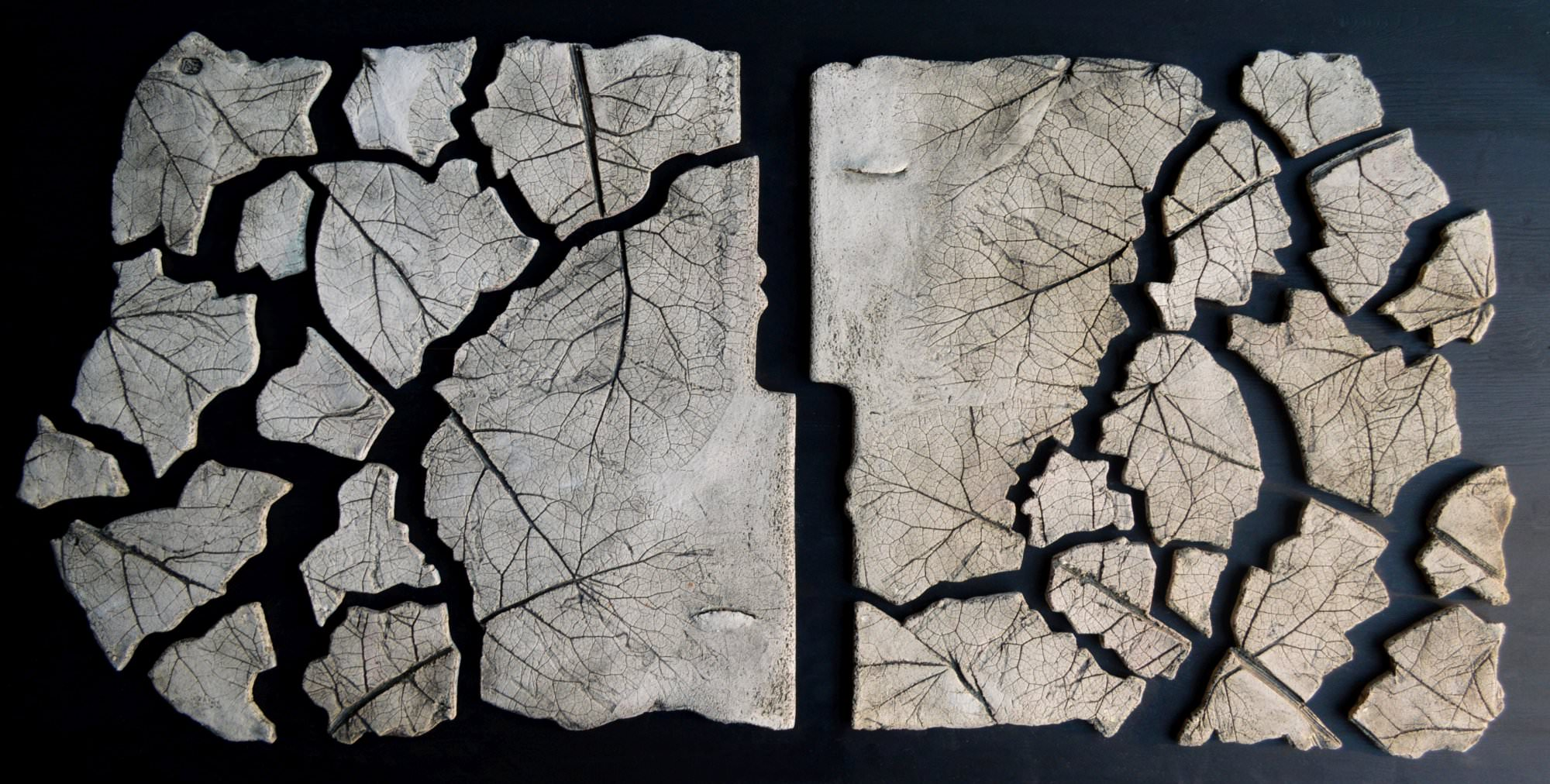 on-board - 17.From-the-series-Corsica.Couple-and-leafts-.panno-ceramic-decorated-on-the-wood-board.100x60