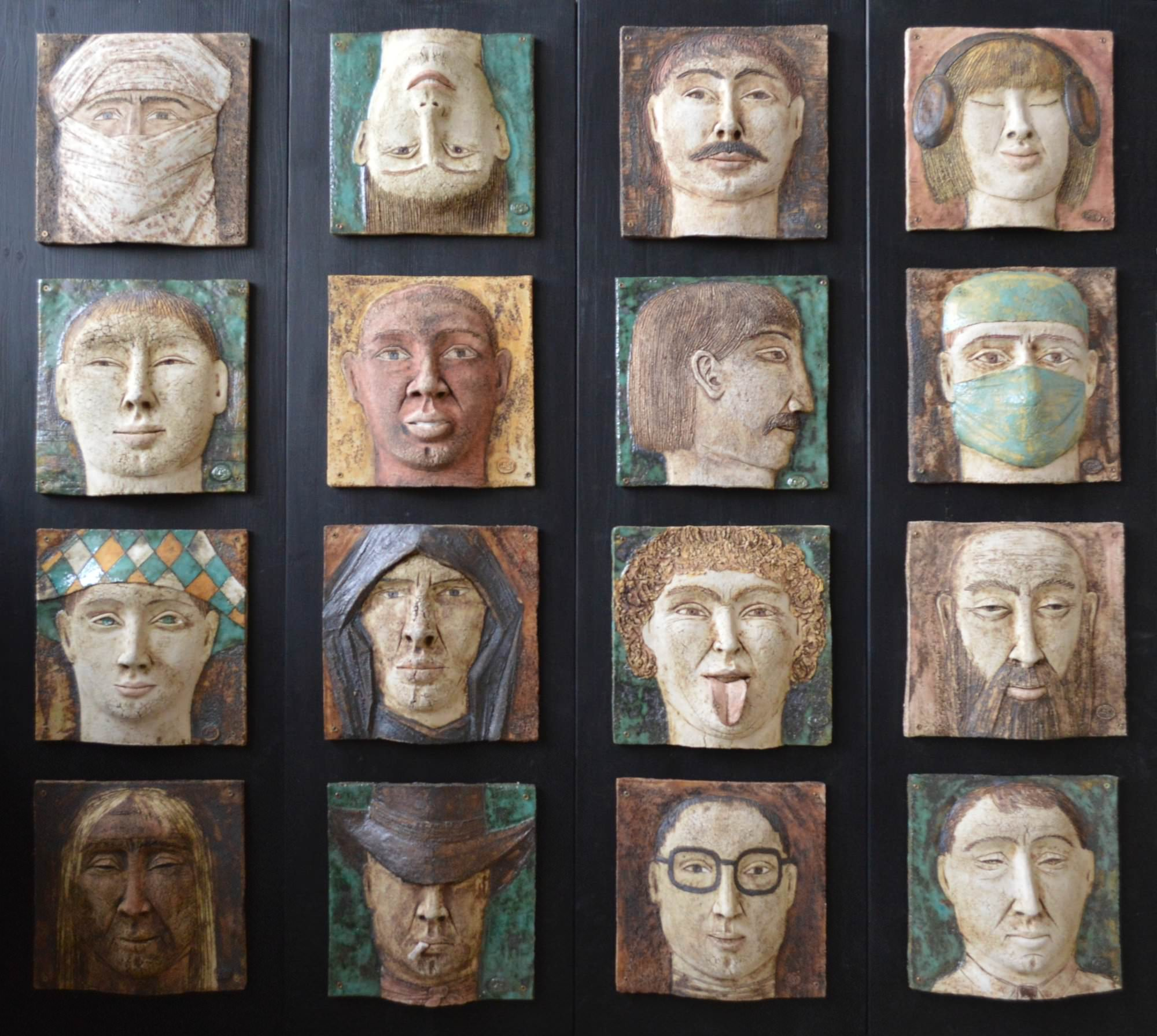 on-board - 9.Looking-for-the-man.-chamotte-oxidesglazespanno-ceramic-decorated-on-the-wood-board.-110x120-2013.